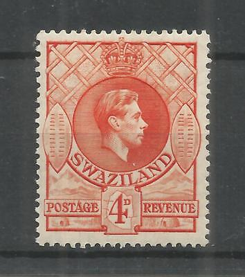 SWAZILAND 1938 GEORGE 6TH 4d ORANGE SG,33 M/MINT LOT 1462B