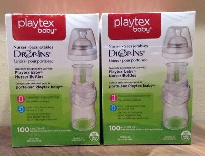 Lot of 2 New Box Playtex Baby Drop-Ins Liners for Nursery Bottles 100 Per Pack
