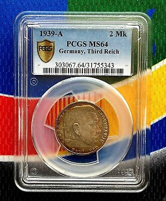 PCGS MS 64 1939 A  2 Mark German SILVER WWII Third  Reich Coin 5*