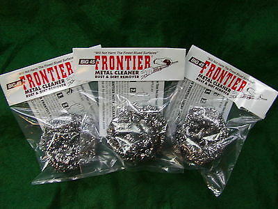 Big 45 Frontier Metal-Bore Cleaner Pads 'Removes Rust Leaves Bluing' Lot of (3)