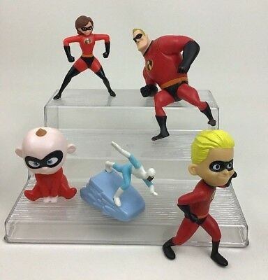 The Incredibles Lot 5pcs Superhero Toy Figures Disney McDonalds Mom Dad Baby A5
