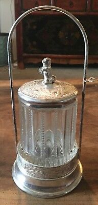 Antique Art Glass Pickle Castor with Dog Finial, Pairpoint? Silver plate