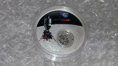 1oz Fine Silver Coin 1 Caret Diamonds 50th Annvers. Moon Landing COA Low Mintage