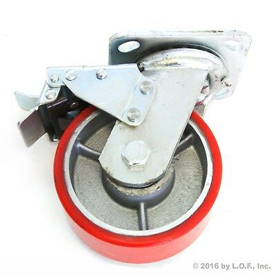 "1 Red Brake Wheel Caster 5"" Wheel All Swivel Heavy Duty Iron Hub No Mark Casters"