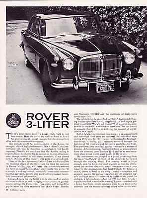 1962 Rover 3-Liter  ~  Nice Original 4-Page Road Test / Article / Ad