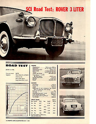 1960 Rover 3-Liter  ~  Nice Original 3-Page Road Test / Article / Ad