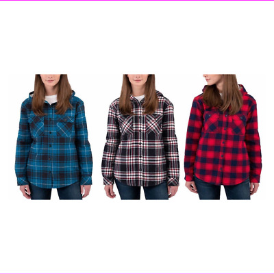 1e9387316bf7 BOSTON TRADERS LADIES  Sherpa Lined Hooded Flannel Shirt Jacket ...