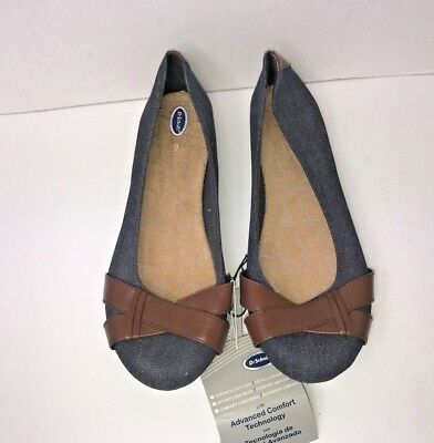 c49f9ced91cb Dr.Scholl s womens flats shoes size 9 comfort ballet slip on chambray brown  new