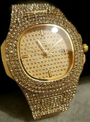 Men's Extra Large Gold Plated Iced Out Oval Bezel Solid Hip Hop Bling Watches