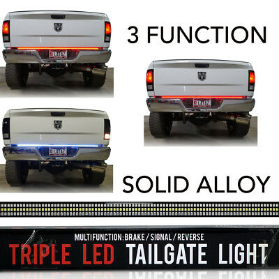 "60"" LED Tailgate Bar Sequential Turn Signal Amber Brake Light Rear RIGID SOLID"