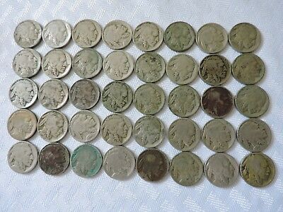 1930 ' S Buffalo Bison Nickel Roll Circulated Coins 40 Coins Mixed Dates