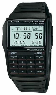 """Casio 25 Page """"Databank"""" Resin Watch, 10 Year Battery, Chronograph, DBC32-1A"""