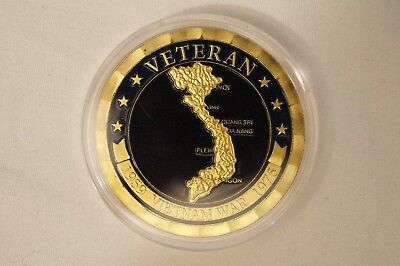 1959-1975 - Vietnam War - Veteran - Gold Plated Coin in Case.