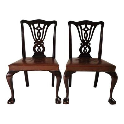 Antique Chippendale Style Mahogany Side Chairs (2) Pair Claw Feet Leather Seat