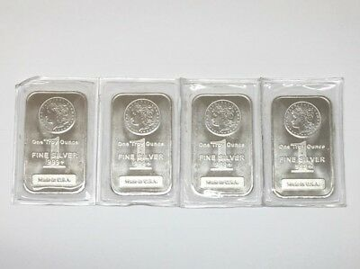 Lot of 4 Sealed Individual 1oz .999 Fine Silver Morgan Design Bars Made in USA
