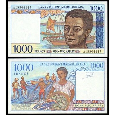 Madagascar P-76 1000 Francs Year ND 1994 Uncirculated Banknote Africa