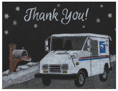 100 Thank You Post Cards From Mailman Letter Carrier