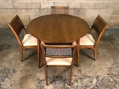 Drexel Profile Mid-Century Modern Dining Table W/6-Chairs & 3-Extensions / Pads