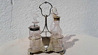 ANTIQUE SILVER PLATED CONDIMENT CRUET SET by DANIEL & ARTER dated 1888