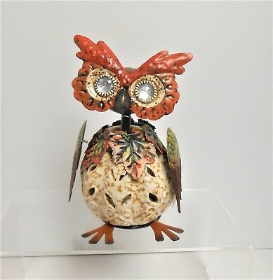 Pier 1 imports Fall Autumn Owl Bobblehead Tealight Candle Holder
