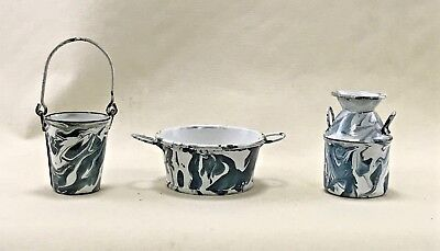 """Graniteware Enamelware Miniatures - Well made and great color - 3"""""""