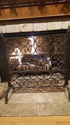 Wisteria Hand Forged Gothic Scroll Wrought Iron Fireplace Screen