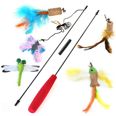Cat Teaser Wand 5 Refills Bell Feather and Animal Interactive Toy for Cat Kitten