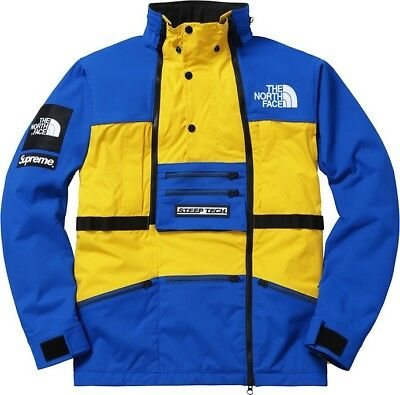 6702224260 Supreme North Face Steep Tech Hooded Jacket Blue Yellow XL S S 2016 box logo