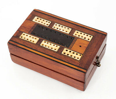 19th c. wood and bone inlaid cribbage board and storage box [11690]