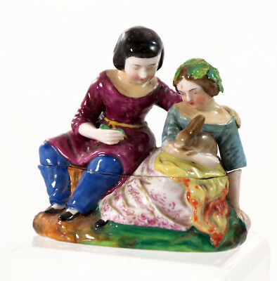 Victorian porcelain fairing cosmetic box, children with rabbit, 19th c.  [F114]