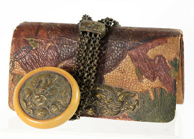 Japanese embossed leather tobacco pouch, ca 1900, netsuke and ojime [11407]