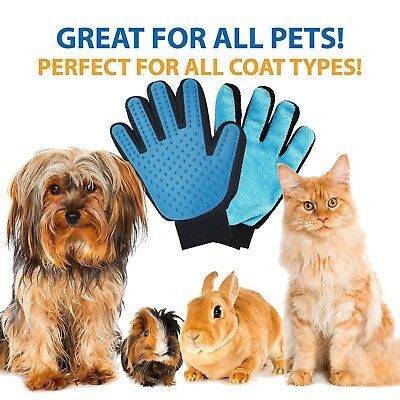 Massage Real Glove Touch Deshedding Gentle Efficient Pet Grooming Dogs Cats Bath