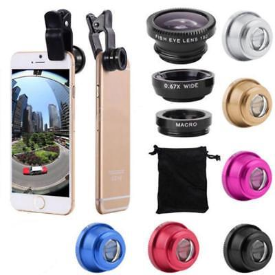 3 in 1 Lens Kit Universal Cell Phone Clip-on Wide Angle Fish Eye Macro Camera UP