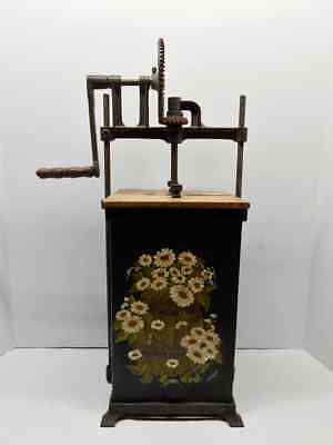Early Antique Metal Butter Churn Patented April 16,1907 Hand Painted W/ Wood Lid