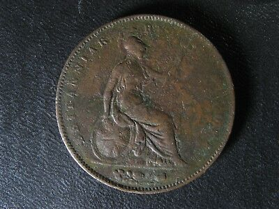 One penny 1854 Great Britain KM#739 Ornamental trident UK GB Queen Victoria d p