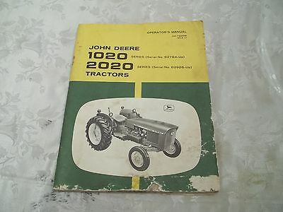 John Deere 1020 2020 Tractors Owners Manual om-T29489 Issue L7 80 Pages Farm