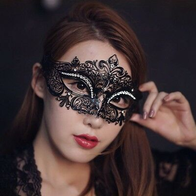 Black Filigree Venetian Masquerade Metal Mask Ball Fancy Dress Party Outfit NEW