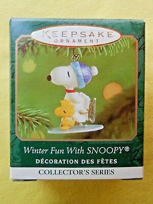 HALLMARK 2001 Winter Fun with SNOOPY Miniature Ornament #4 In SERIES Peanuts-MIB
