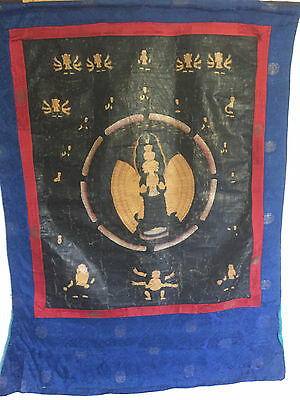 Very Fine Rare Antique Tibetan/Nepalese Thangka Buddha Painting on Silk Cloth