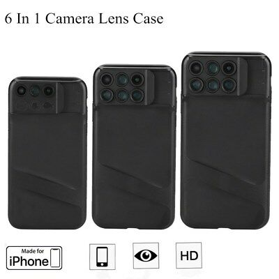 6 in 1 Camera Lens Fisheye+Macro+Wide Angle SLR Case For iPhone X XS XR XS Max S