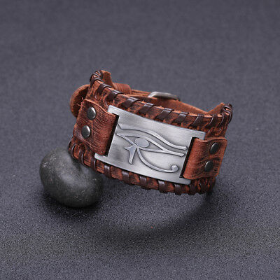 Ancient Talisman Egyptian Pagan Evil Eye of Horus Metal Brown Leather Bracelet