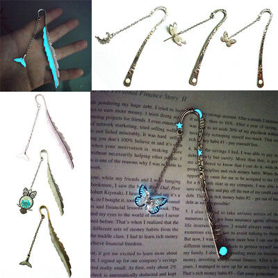 1PC Metal Bookmark Glow in the Dark Star Moon Butterfly Owl Feather Page Marker