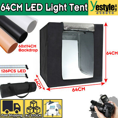 64CM LED Light Tent Photography Studio Lighting Room Photo Box 3 Color Backdrops