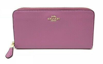 Coach Pebble Leather Accordion Zip Women's Wallet Primrose F16612 $250