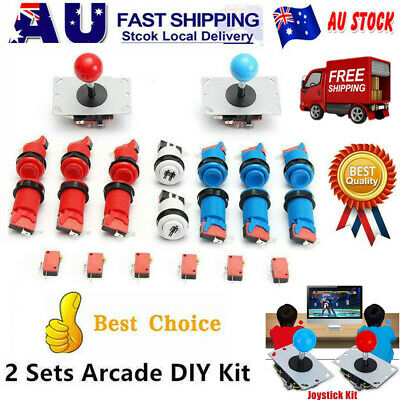 DIY Arcade Set Kit Game 2 Joystick+12 Happ Push+ 20 Microswitch+2 Start Button