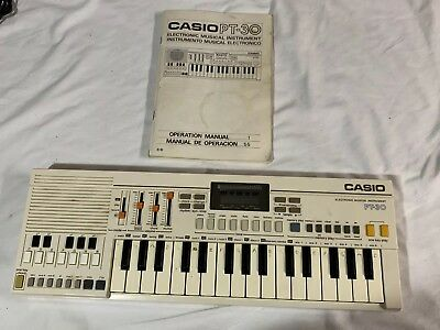 Casio Pt-30 Mini Electronic Keyboard Synthesizer Portable Piano & Manual Vintage