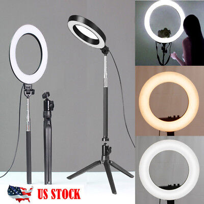 "6"" LED Photography Ring Light Dimmable 5500K Lighting Photo Video Stand"