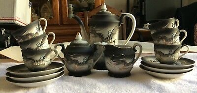 Vintage Japanese Tea Set - Dragon - Black and Blue - 15 Pieces - Flat Shipping