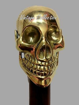 Solid Brass SKULL Head Handle Wooden Walking Stick Vintage Antique Style Cane