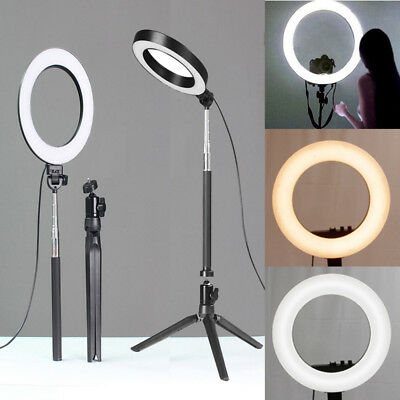 "US 8"" LED SMD Ring Light Kit with Stand Dimmable 5500K for Makeup Phone Camera"